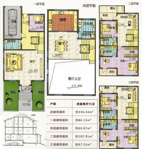 户型图 D户型356平米四室两厅六卫