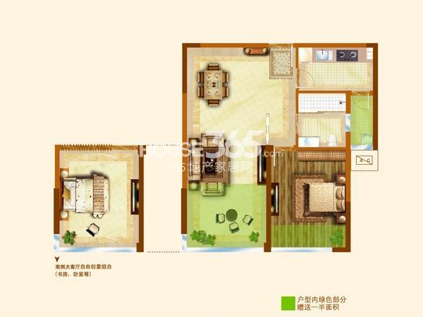 安信颐和(常州)国际颐养中心B 2室1厅1卫 约75平