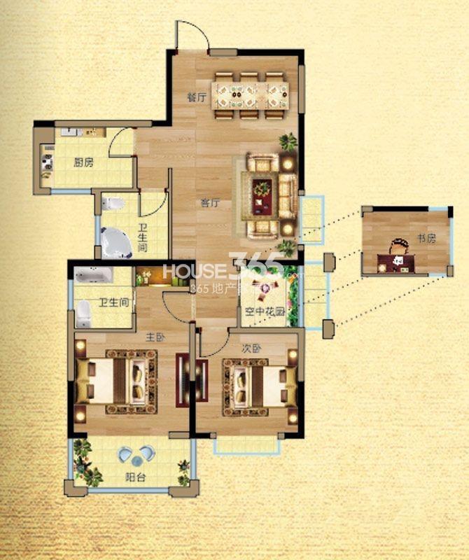 凡尔赛公馆-2号楼G5户型3室2厅2卫1厨 90.00㎡
