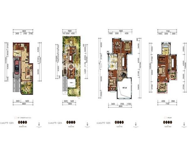 新希望紫檀山联排S6户型5室2厅5卫 292.17㎡