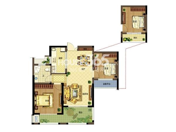 弘阳广场B1户型 2房2厅1卫 87平