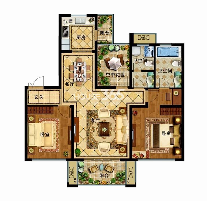 津西新天地C户型2+1室两厅两卫 120平