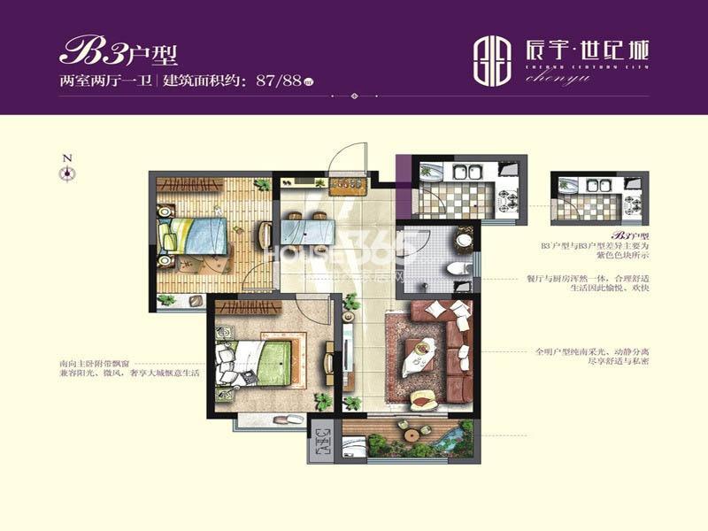 辰宇世纪城19/20#楼B3户型2室2厅1卫1厨 88.00㎡
