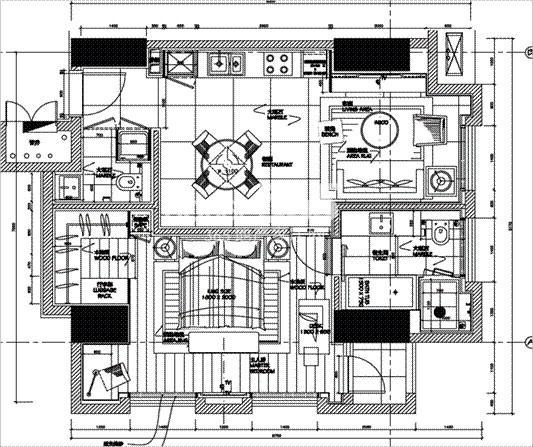 朗臣公寓户型图2室2厅2卫一厨 66.7㎡