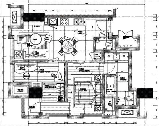 朗臣公寓户型图2室2厅2卫一厨 63.9㎡
