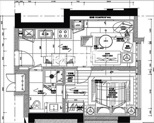 朗臣公寓户型图一室一厅一卫一厨 42.6㎡