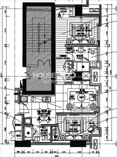 朗臣公寓户型图2室2厅2卫一厨 77.5㎡
