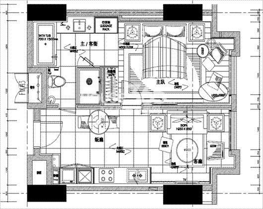 朗臣公寓户型图一室一厅一卫一厨 51.3㎡