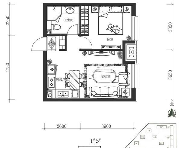 万科春河里 户型图 1和5号楼 一室二厅一卫55平
