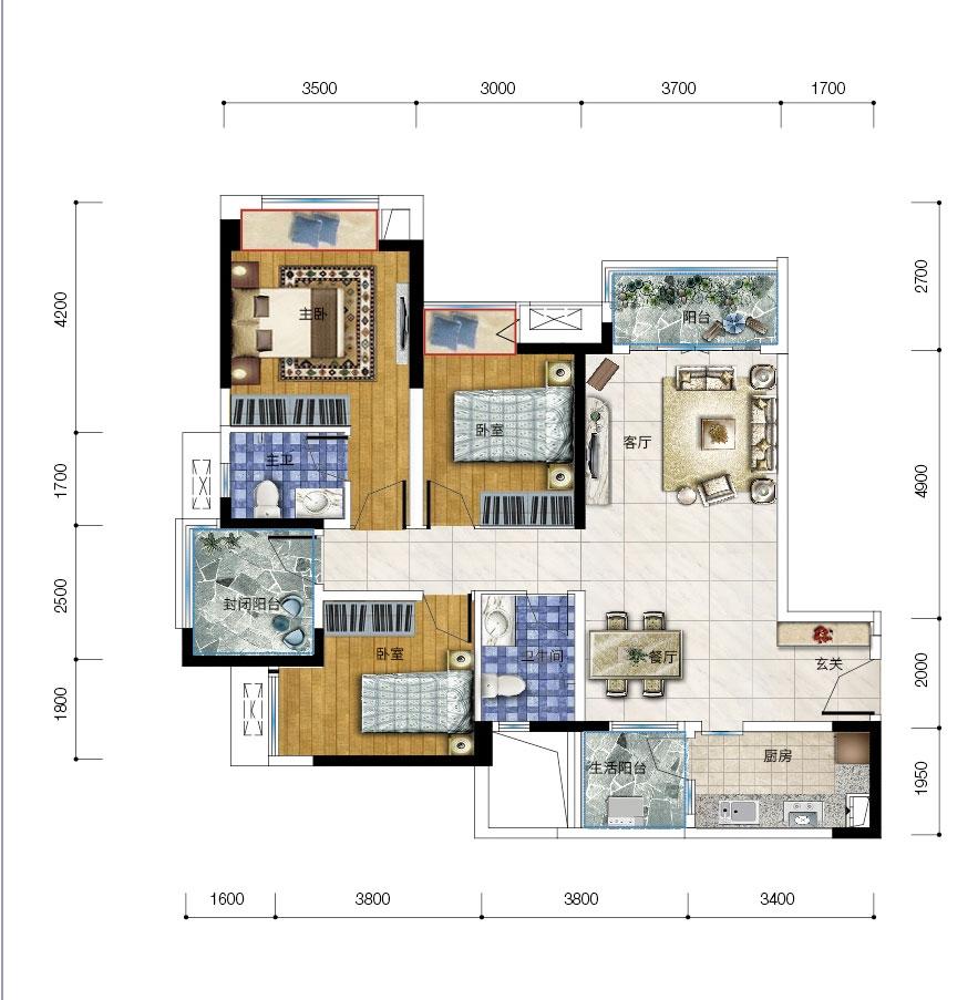 保利爱尚里18、19号楼k-1三室两厅两卫三阳台 套内90平米