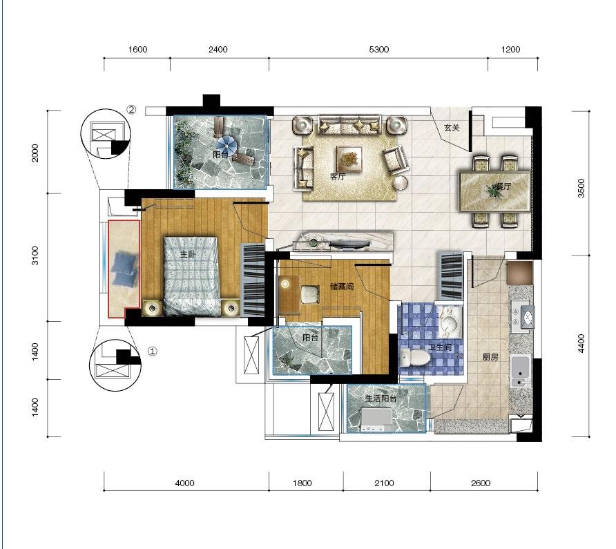 保利爱尚里15、16、17号楼J-1两室两厅一卫三阳台 套内58平米