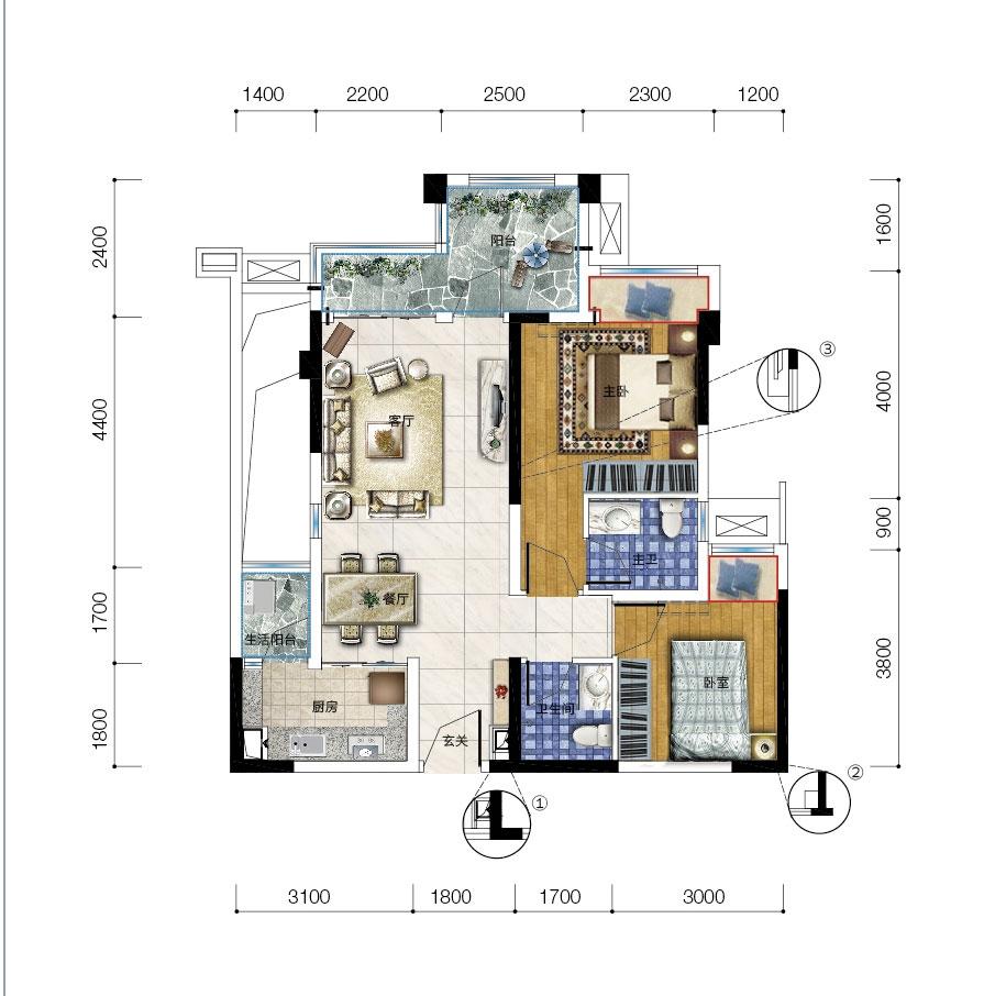 保利爱尚里15、17号楼l-1两室两厅两卫双阳台 套内66平米
