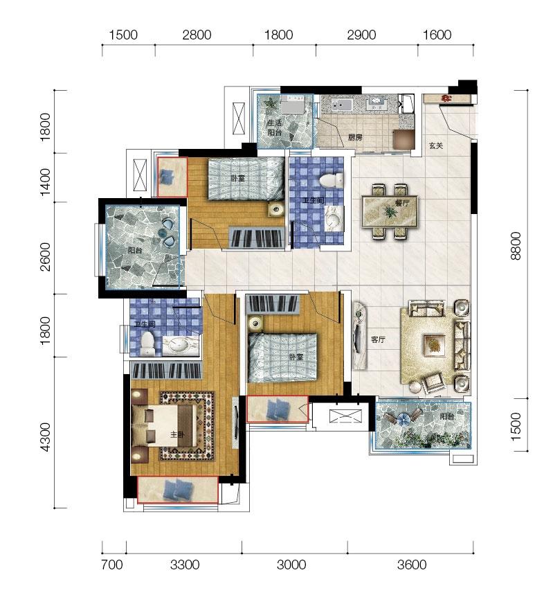 保利爱尚里15号楼n-1两室两厅两卫三阳台 套内85平米