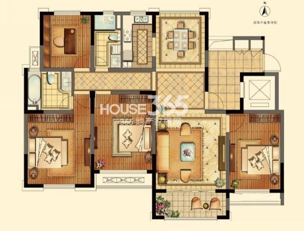 正源悦庭一期标准层142平户型图4室2厅2卫1厨 142.00㎡