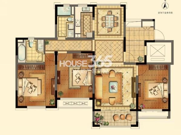 正源悦庭一期标准层131平户型图3室2厅2卫1厨 131.00㎡