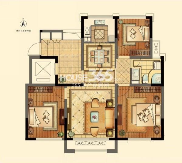 正源悦庭一期标准层89平户型图3室2厅1卫1厨 89.00㎡