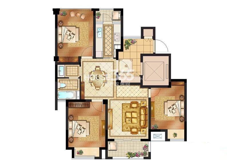 创元加州阳光1#标准层B户型3室2厅1卫1厨 105.00㎡