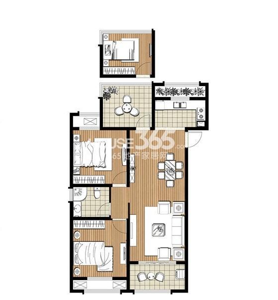 伟业迎春丽家C2户型98㎡2+1室2厅1卫