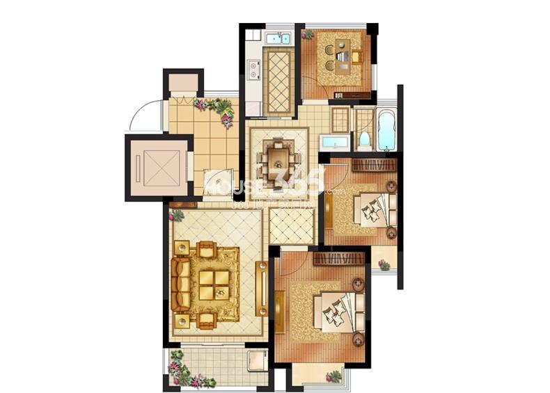 创元加州阳光1#标准层C户型2室2厅1卫1厨 90.00㎡