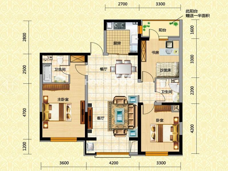 奥园国际城三室两厅两卫133平