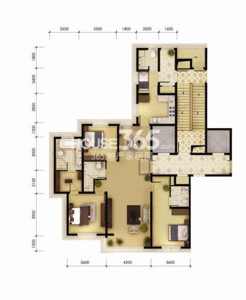 240平米三室两厅四卫