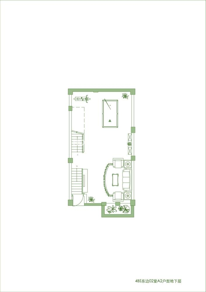 景瑞御江山 别墅4BN东边02室A1户型地下层