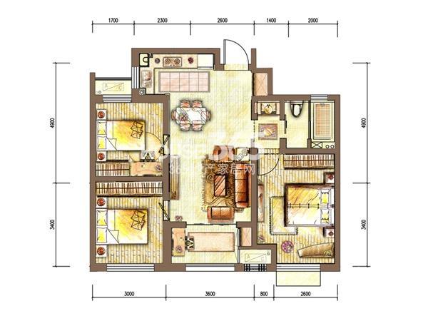 新城香溢紫郡四期 3室2厅1卫 88平