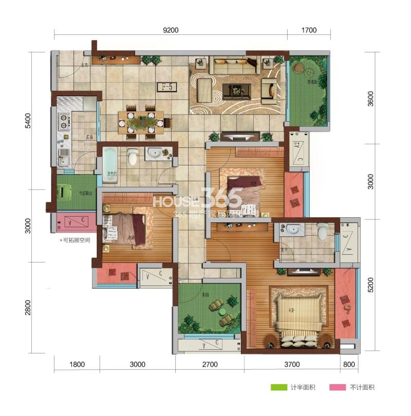 保利观塘 F5户型 四室两厅两卫+双阳台 套内面积约95㎡ 可使用面积约110㎡