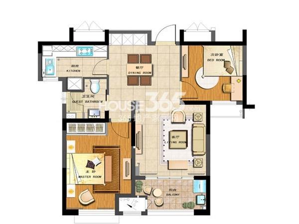 新城香溢紫郡四期 2室2厅1卫 83平