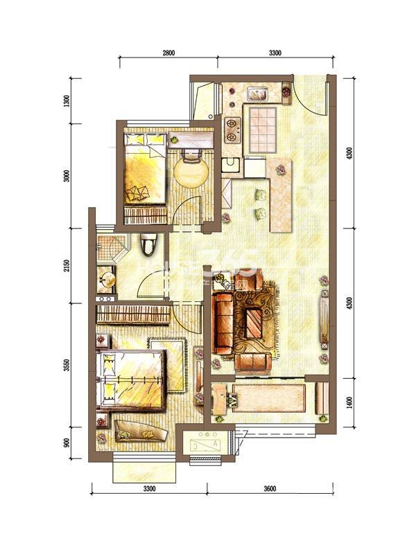 新城香溢紫郡四期 2室2厅1卫 70平