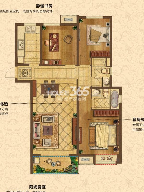 C2户型-3房2厅2卫-约110平