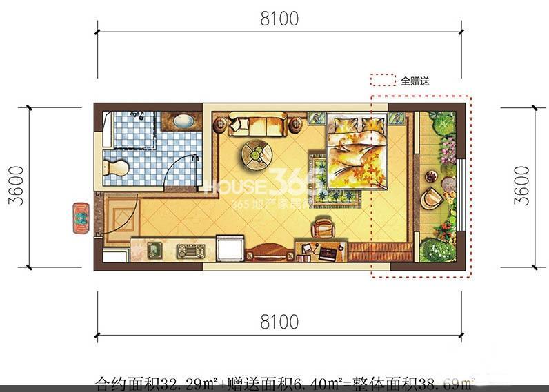 莱安星座户型图1室1厅1卫1厨 32.29㎡
