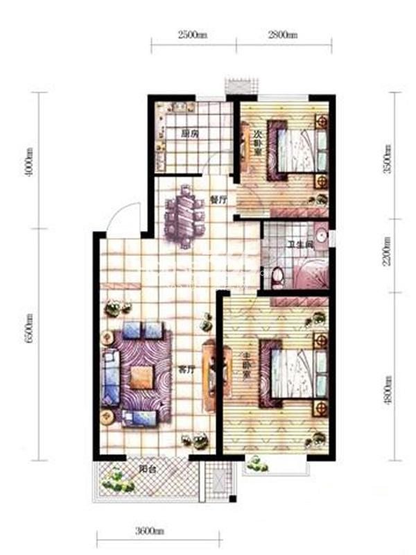 沈阳新天地A2-4户型二室二厅一卫88.73㎡