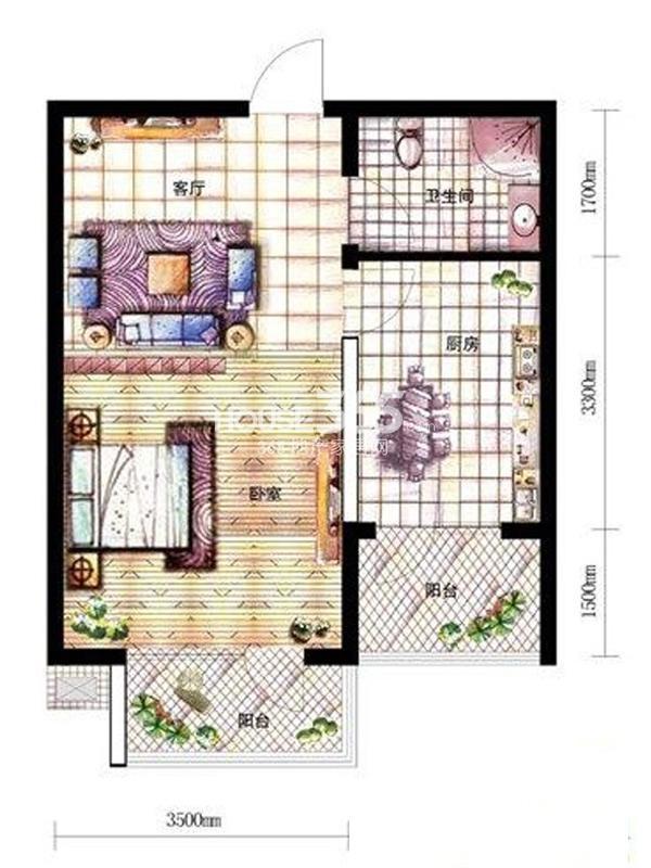 沈阳新天地A3-2户型一室一厅一卫48.85㎡