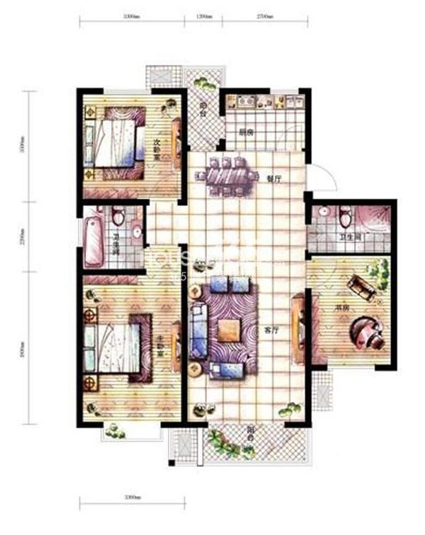 沈阳新天地A2-1户型三室二厅二卫121.83㎡