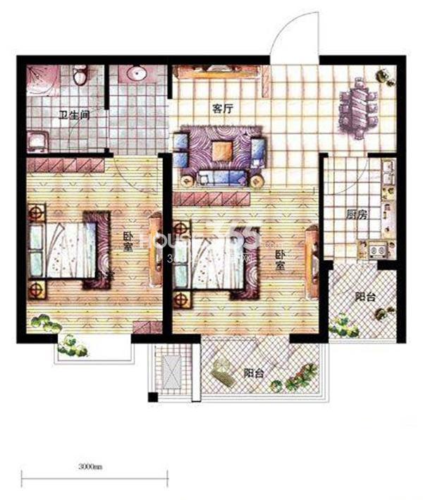 沈阳新天地A2-5户型二室二厅一卫73.3㎡