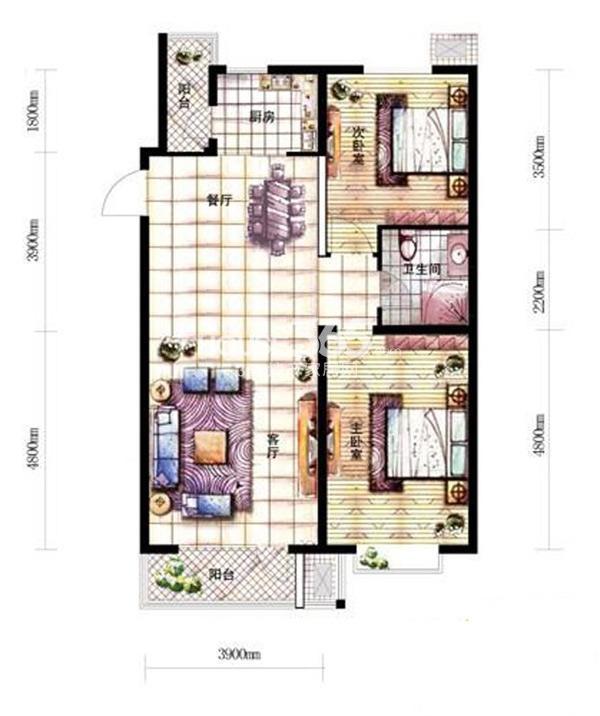 沈阳新天地A2-2户型二室二厅一卫99.06㎡