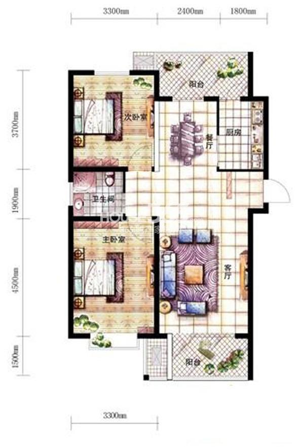 沈阳新天地A1-2户型二室二厅一卫94.52㎡