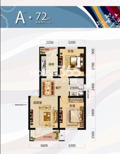 唐轩北廷2室2厅1卫72平米户型