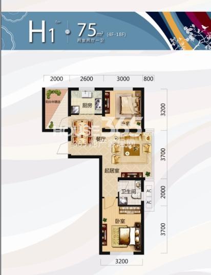 唐轩北廷2室2厅1卫75平米户型