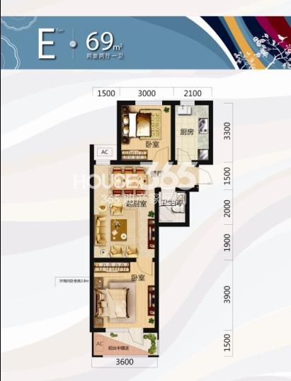 唐轩北廷2室2厅1卫69平米户型