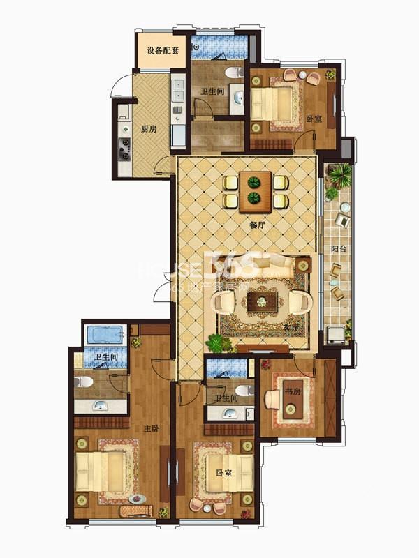 九龙仓碧玺玺悦公馆5号楼E2户型4室2厅3卫1厨 187.00㎡