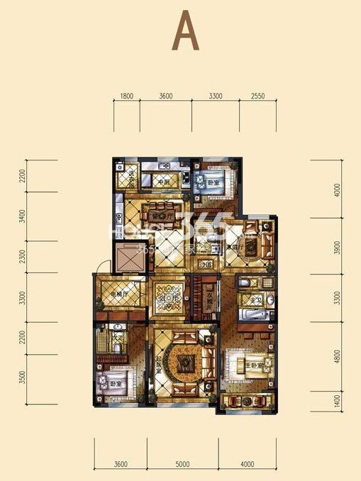 中海紫御华府一期标准层A户型图3室3厅3卫1厨 200.00㎡