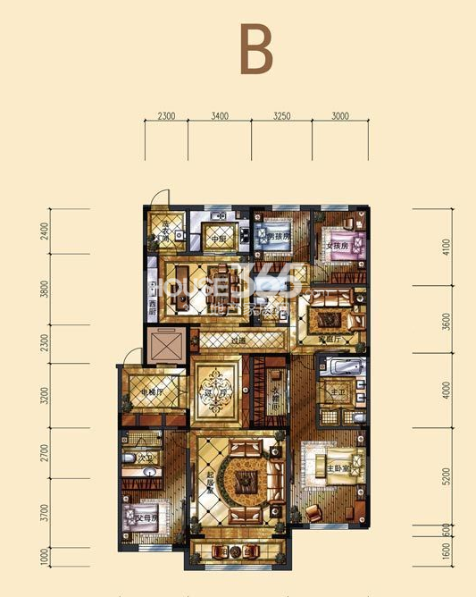 中海紫御华府一期标准层B户型图4室3厅3卫1厨 240.00㎡