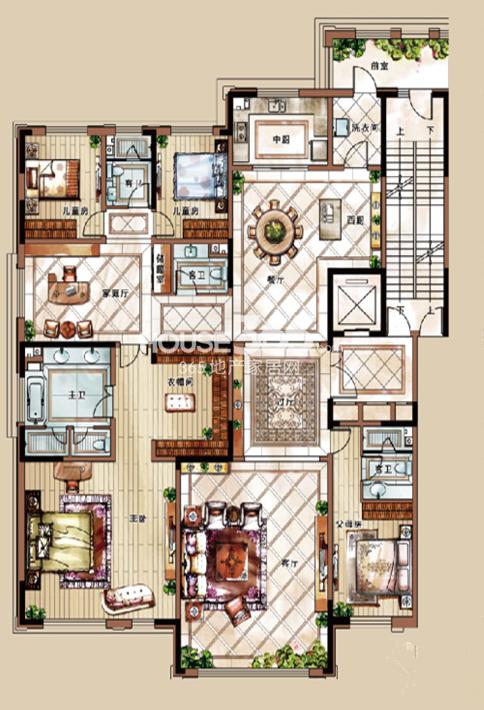 中海紫御华府三期329平户型图4室3厅4卫2厨 329.00㎡