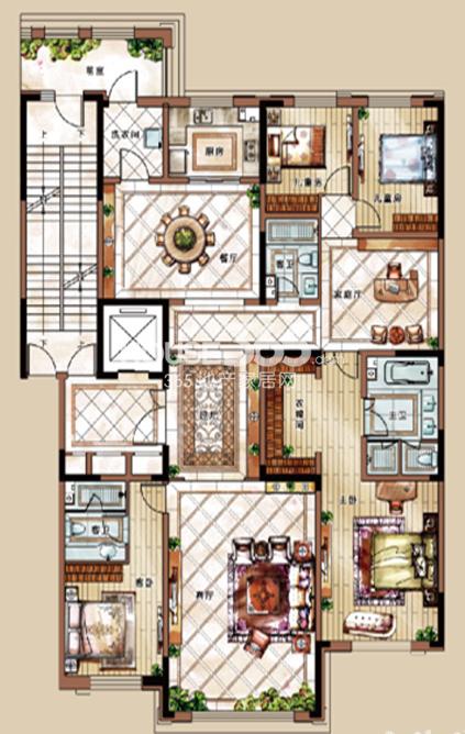 中海紫御华府三期249平户型图4室3厅3卫2厨 249.00㎡