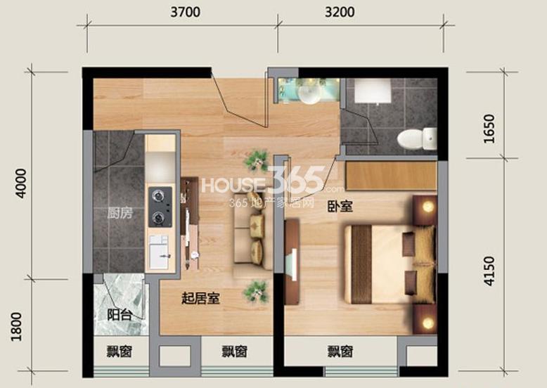 J户型图1室1厅1卫 43.24㎡
