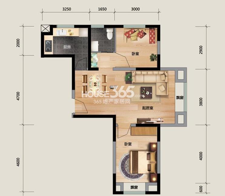 K户型图2室2厅1卫 73.69㎡