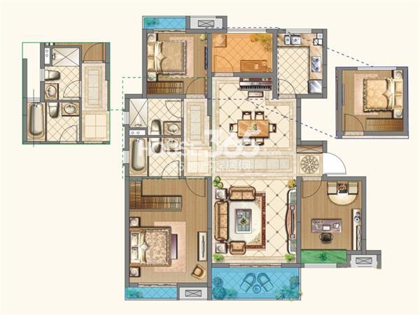 中海运河丹堤洋房YB-c户型4室2厅2卫1厨 117.00㎡
