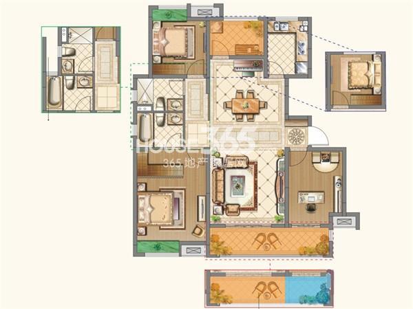 中海运河丹堤洋房YB-b户型4室2厅2卫1厨 123.00㎡